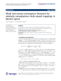 """Báo cáo hóa học: """"  Weak and strong convergence theorems for relatively nonexpansive multi-valued mappings in Banach spaces"""""""