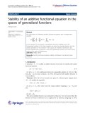 """Báo cáo hóa học: """" Stability of an additive functional equation in the spaces of generalized functions"""""""