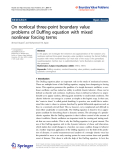 "Báo cáo hóa học: ""   On nonlocal three-point boundary value problems of Duffing equation with mixed nonlinear forcing terms"""