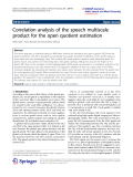 """Báo cáo hóa học: """"  Correlation analysis of the speech multiscale product for the open quotient estimation"""""""