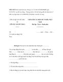 MẪU SỐ 3: Ban hành kèm theo Thông tư số 31/2011/TT-BLĐTBXH ngày 03/11/2011 của Bộ