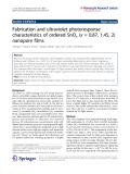 "Báo cáo hóa học: ""   Fabrication and ultraviolet photoresponse characteristics of ordered SnOx (x ≈ 0.87, 1.45, 2) nanopore films"""