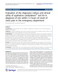 "Báo cáo hóa học: ""   Evaluation of the diagnostic indices and clinical utility of qualitative cardiodetect® test kit in diagnosis of ami within 12 hours of onset of chest pain in the emergency department"""