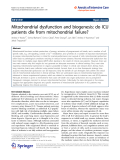 "Báo cáo hóa học: "" Mitochondrial dysfunction and biogenesis: do ICU patients die from mitochondrial failure?"""