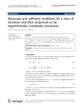 """Báo cáo hóa học: """"Necessary and sufficient conditions for a class of functions and their reciprocals to be logarithmically completely monotonic"""""""