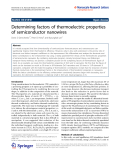 "Báo cáo hóa học: ""  Determining factors of thermoelectric properties of semiconductor nanowires"""