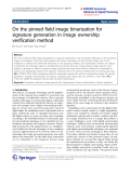"""báo cáo hóa học: """" On the pinned field image binarization for signature generation in image ownership verification method"""""""