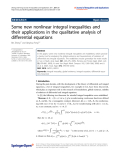 "Báo cáo hóa học: "" Some new nonlinear integral inequalities and their applications in the qualitative analysis of differential equations"""