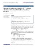 "Báo cáo hóa học: ""  Generalized ulam-hyers stability of C*-Ternary algebra n-Homomorphisms for a functional equation"""