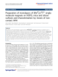 """Báo cáo hóa học: """"  Preparation of monolayers of [MnIII6CrIII]3+ singlemolecule magnets on HOPG, mica and silicon surfaces and characterization by means of noncontact AFM"""""""
