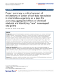"""Báo cáo hóa học: """"  Project summary: a critical synopsis of mechanisms of action of low-dose xenobiotics in mammalian organisms as a basis for assessing aggregated effects of chemical mixtures and identifying """"new"""" toxicological end points"""""""