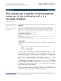 "báo cáo hóa học: "" Mild solutions for a problem involving fractional derivatives in the nonlinearity and in the non-local conditions"""