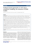"báo cáo hóa học: ""  Analogue-based approaches in anti-cancer compound modelling: the relevance of QSAR models"""