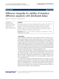 """Báo cáo hóa học: """"  Difference inequality for stability of impulsive difference equations with distributed delays"""""""