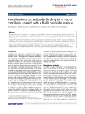"""Báo cáo hóa học: """"  Investigations on antibody binding to a microcantilever coated with a BAM pesticide residue"""""""