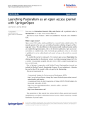 "Báo cáo hóa học: ""  Launching Pastoralism as an open access journal with SpringerOpen"""