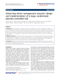 "Báo cáo hóa học: "" Advancing donor management research: design and implementation of a large, randomized, placebo-controlled trial"""