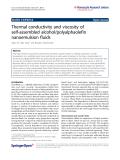 "Báo cáo hóa học: "" Thermal conductivity and viscosity of self-assembled alcohol/polyalphaolefin nanoemulsion fluids"""