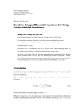 "Báo cáo hóa học: ""Research Article Impulsive Integrodifferential Equations Involving Nonlocal Initial Conditions"""