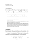 """Báo cáo hóa học: """" Research Article New Existence Results and Comparison Principles for Impulsive Integral Boundary Value Problem with Lower and Upper Solutions in Reversed Order"""""""