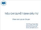 Phân tích lợi ích chi phí: Tiêu chí quyết định đầu tư -  ThS Phùng Thanh Bình