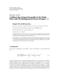 "Báo cáo hóa học: "" Research Article A Hilbert-Type Integral Inequality in the Whole Plane with the Homogeneous Kernel of Degree −2 Dongmei Xin and Bicheng Yang"""