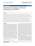 "Báo cáo hóa học: ""  Discussion on the thermal conductivity enhancement of nanofluids"""