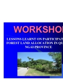 "Báo cáo khoa học nông nghiệp "" LESSONS LEARNT ON PARTICIPATORY FOREST LAND ALLOCATION IN QUANG NGAI PROVINCE """