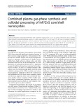 """Báo cáo hóa học: """"  Combined plasma gas-phase synthesis and colloidal processing of InP/ZnS core/shell nanocrystals"""""""