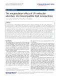 "Báo cáo hóa học: ""  The encapsulation effect of UV molecular absorbers into biocompatible lipid nanoparticles"""
