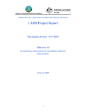 "Project Progress Report: "" Competency assessment of macadamia industry stakeholders. """