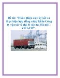 Đề tài: Hoàn thiện việc ký kết và thực hiện hợp đồng nhập khẩu Công ty vận tải và đại lý vận tải Hà nội – VITACO