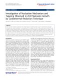 "Báo cáo hóa học: ""  Investigation of Nucleation Mechanism and Tapering Observed in ZnO Nanowire Growth by Carbothermal Reduction Technique"""
