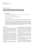 "Báo cáo hóa học: "" Research Article A Genetic Algorithm Optimization Technique for Multiwavelet-Based Digital Audio Watermarking"""