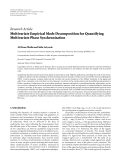 "Báo cáo hóa học: "" Research Article Multivariate Empirical Mode Decomposition for Quantifying Multivariate Phase Synchronization"""