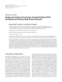 """Báo cáo hóa học: """" Research Article Design and Analysis of an Energy-Saving Distributed MAC Mechanism for Wireless Body Sensor Networks"""""""