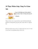 10 Thực Phẩm Giúp Tăng No Giảm Mỡ
