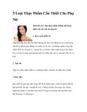 5 Loại Thực Phẩm Cần Thiết Cho Phụ Nữ