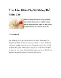 7 Sai Lầm Khiến Phụ Nữ Không Thể Giảm Cân Điểm lại những kế hoạch ăn