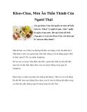 Khao-Chae, Món Ăn Thần Thánh Của Người Thái
