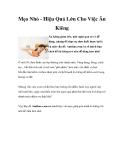 Mẹo Nhỏ - Hiệu Quả Lớn Cho Việc Ăn Kiêng