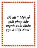 Đề tài: Một số giải pháp đẩy mạnh xuất khẩu gạo ở Việt Nam