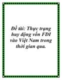Đề tài: Thực trạng huy động vốn FDI vào Việt Nam trong thời gian qua.