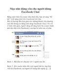 Mẹo nhỏ đáng yêu cho người dùng Facebook Chat