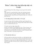 Thêm 7 chiêu thức tìm kiếm đặc biệt với Google