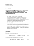 """Báo cáo hóa học: """"   Research Article Existence and Asymptotic Behavior of Solutions for Weighted p t -Laplacian Integrodifferential System Multipoint and Integral Boundary Value Problems in Half Line"""""""