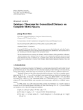 """Báo cáo hóa học: """" Research Article Existence Theorems for Generalized Distance on Complete Metric Spaces"""""""