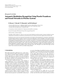 """Báo cáo sinh học: """" Research Article Automatic Modulation Recognition Using Wavelet Transform and Neural Networks in Wireless Systems"""""""