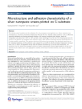 """báo cáo hóa học:"""" Microstructure and adhesion characteristics of a silver nanopaste screen-printed on Si substrate"""""""