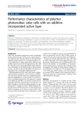 """báo cáo hóa học:""""  Performance characteristics of polymer photovoltaic solar cells with an additiveincorporated active layer"""""""